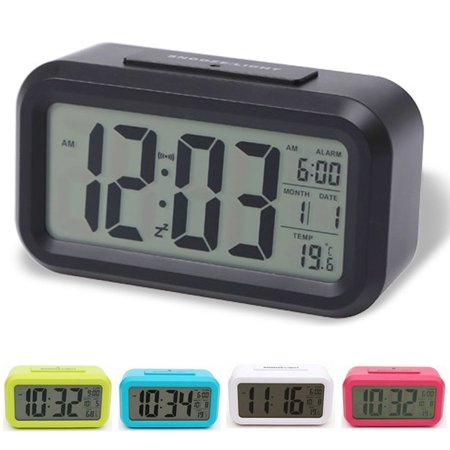Smart Alarm Clock Light Sensor Digital Lcd Clock Automatic Snooze Bedside Alarm Clock With Date And Temperature Display  Black