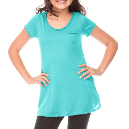 Kavio! Big Girls 7-16 Sheer Jersey Double Raw Edge Scoop Neck Penny Pocket Short Sleeve Caribbean Blue - Jersey Short Sleeve Pocket