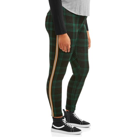 Eye Candy Juniors' Plus Size Menswear Plaid Pant with Side Stripe Menswear Crop Pants