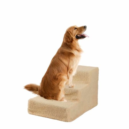 Clearance! Soft portable cat and dog 3 steps ramp small crawl pet stairs beige staircase Plastic Plush