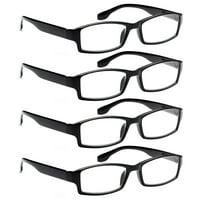 ALTEC VISION 4 Pack Spring Hinge Black Frame Readers Reading Glasses for Men and Women - 4.00x