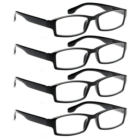 ALTEC VISION 4 Pack Spring Hinge Black Frame Readers Reading Glasses for Men and Women - (Hinge Reading Glasses)