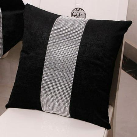 Stylish Graceful Velvet Throw Pillow with Diamond Chain Soft Sofa Cushion Decoration Modern Pillowcase