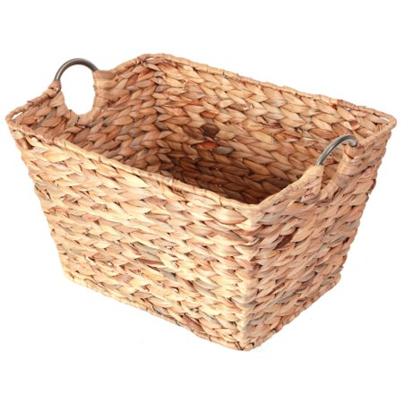 Large Square Water Hyacinth Wicker Laundry Basket ()