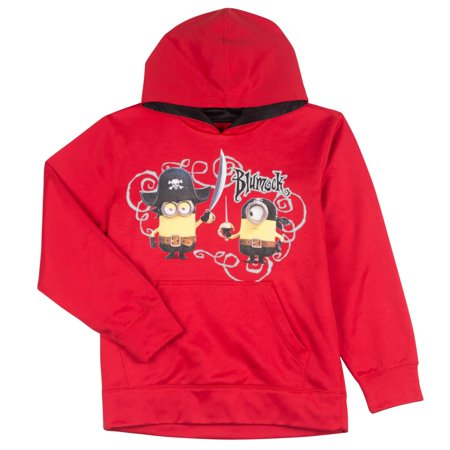 Despicable Me Boys Red Pirate Minion Pullover Hoodie Sweatshirt (Minion Hoodie)