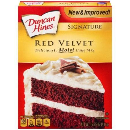 (2 Pack) Duncan Hines Signature Red Velvet Layer Cake Mix, 15.25 oz