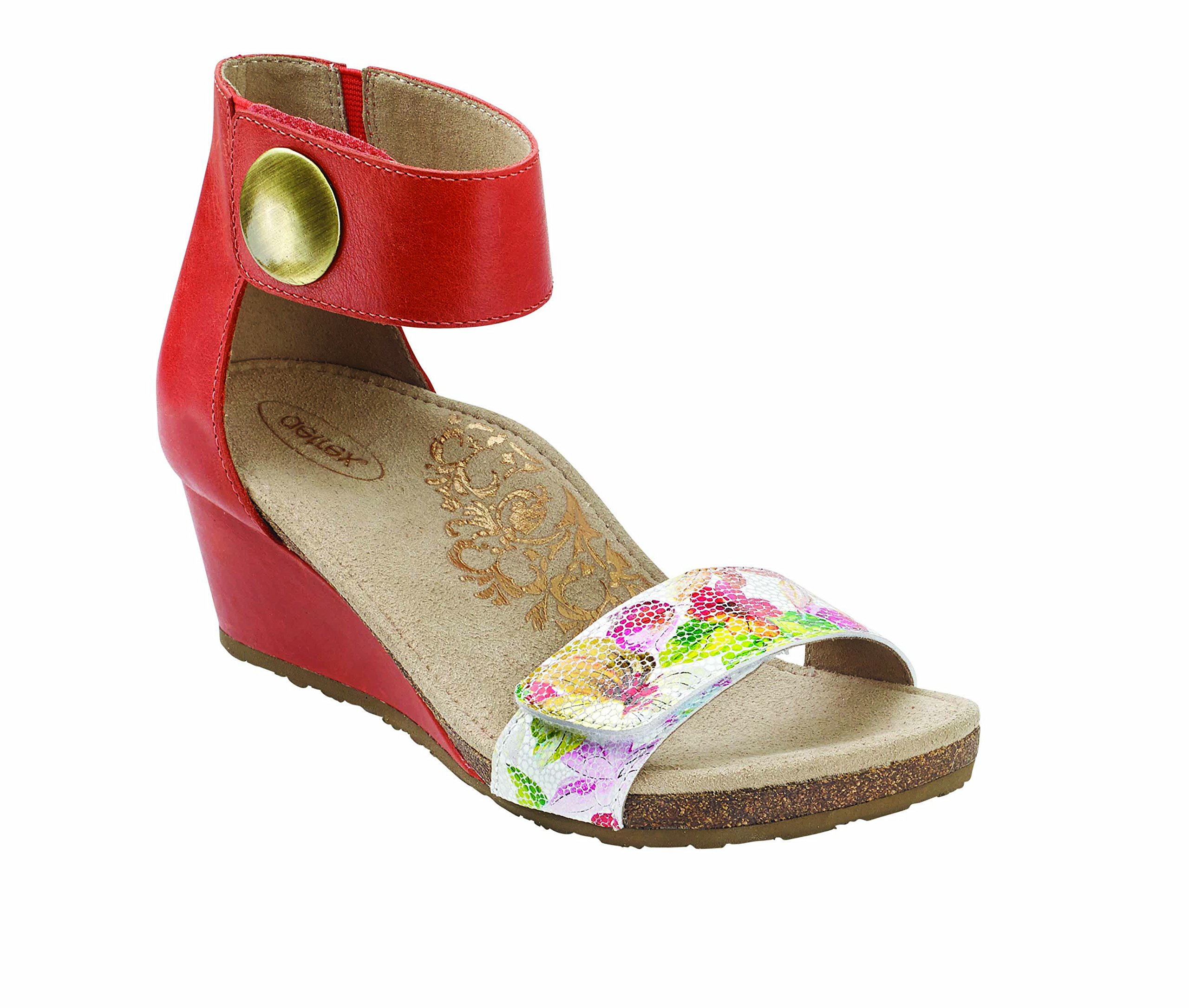 Aetrex Women's Becca Ankle Strap Wedge CORAL PRINT W40 by Aetrex