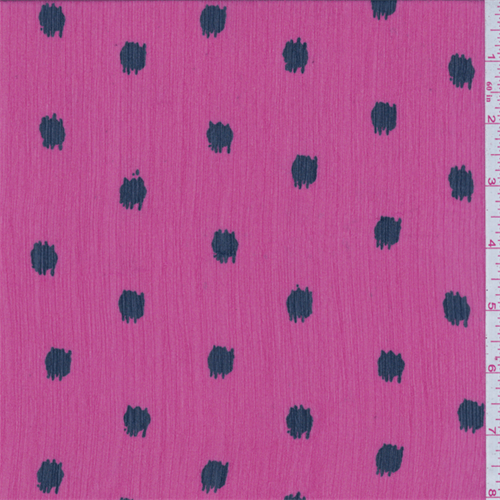 Hot Pink Spot Crinkled Chiffon, Fabric By the Yard