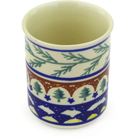Polish Pottery 8 oz Tumbler (Pine Boughs Theme) Hand Painted in Boleslawiec, Poland + Certificate of Authenticity](Theme Halloween Tumblr)