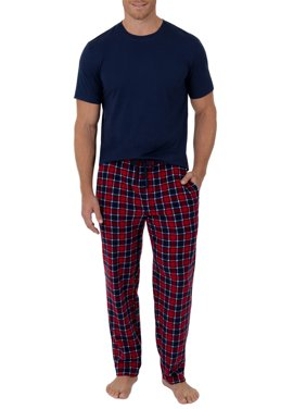 Fruit of the Loom Men's Short Sleeve Crew Neck Top and Fleece Pajama Pant Set