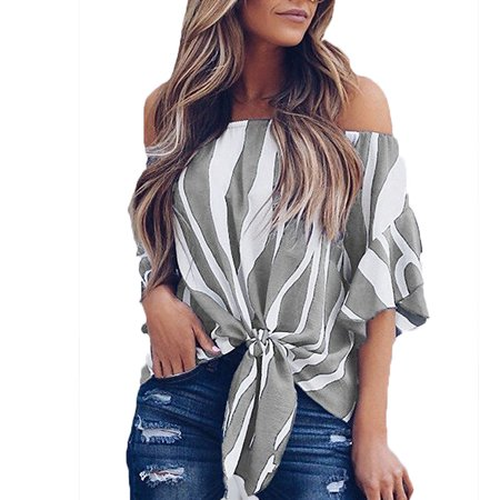 1527d028ab3 Issac Live - Women Summer Casual Falbala Flare Short Sleeves Loose T-shirt  Crop Tops Sexy Off Shoulder Stripe Printed Chiffon Shirt - Walmart.com
