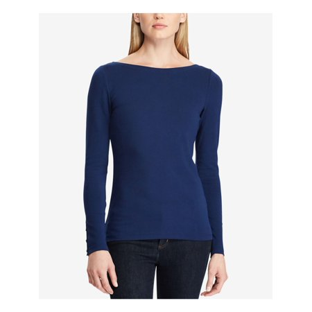 RALPH LAUREN Womens Navy Embellished Long Sleeve Boat Neck Top Size: L