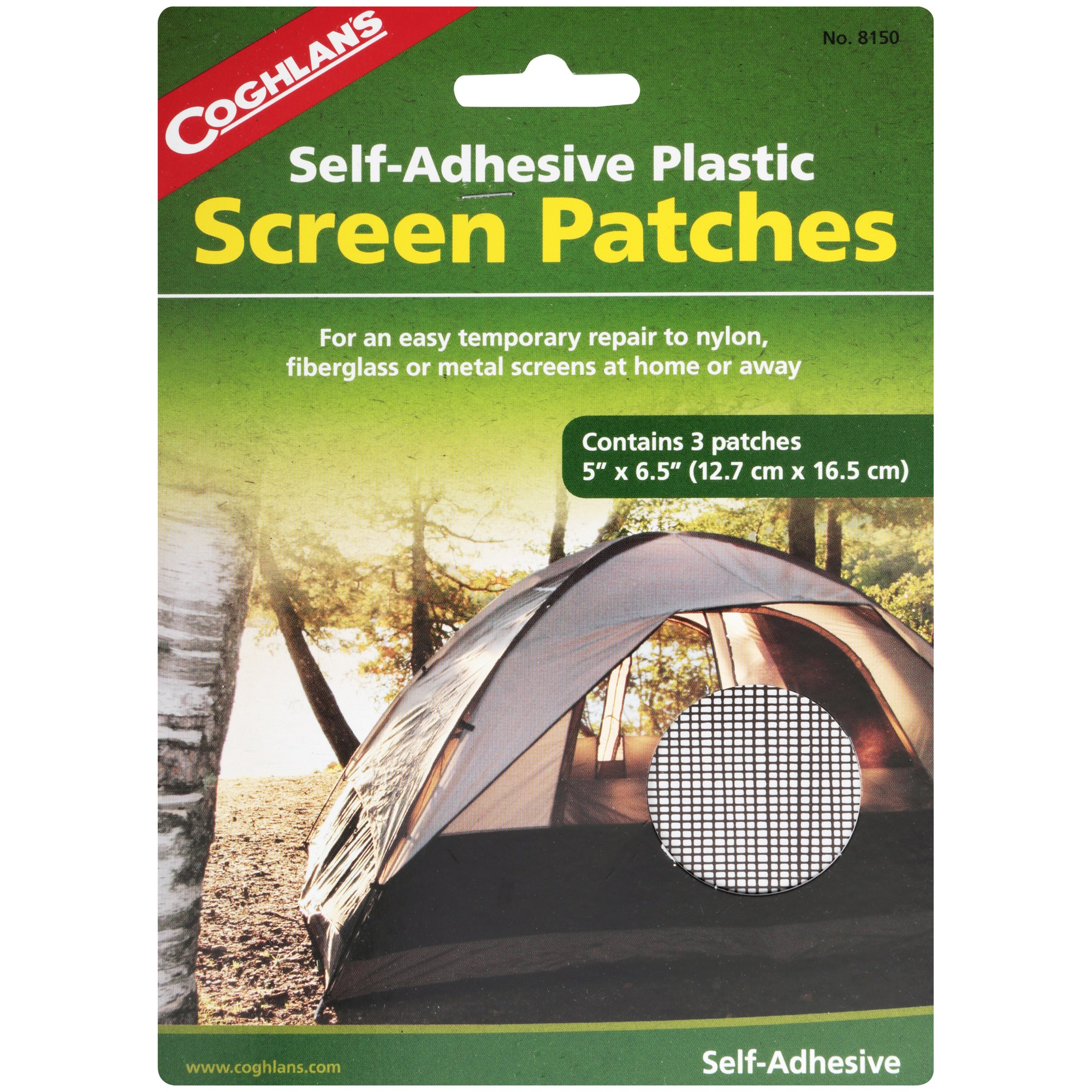 Coghlan's Self-Adhesive Plastic Screen Patches 3 ct Pack