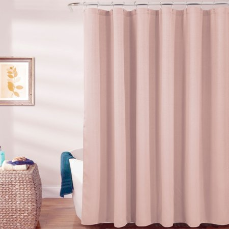 Warwick Textured Jacquard 70 x 72 in. Shower Curtain with Roller Hooks in Blush ()