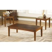 3-Pc Coffee Table with End Table in Brown