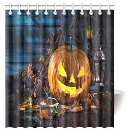 MYPOP Halloween Pumpkin Head Jack Lantern with Burning Candles Fabric Bathroom Shower Curtain Set with Hooks, 66 X 72 Inches](Halloween Shower Curtain Set)