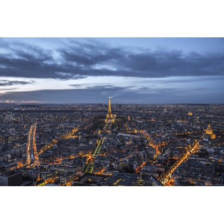 Paris at sunset from the Montparnasse Tower, the best viewpoint in Paris, Paris, France, Europe Print Wall Art By Paul