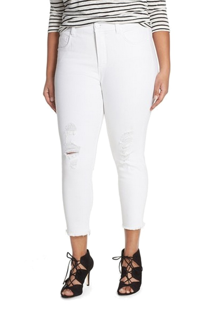 Melissa McCarthy NEW Women's Size 24W Plus White Distressed Pencil Jean