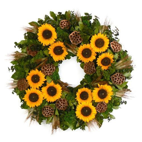 Urban Florals Copper Sunflower Wreath
