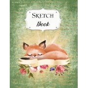 Sketch Book: Fox - Sketchbook - Scetchpad for Drawing or Doodling - Notebook Pad for Creative Artists - Green Floral Flowers (Paperback)