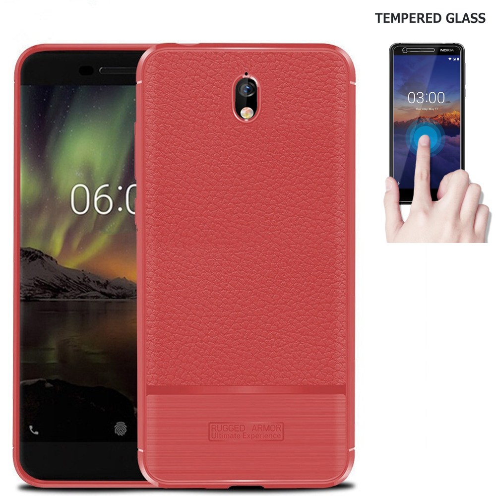 "Screen Protector for NOKIA 3.1 Phone Case, Nokia 3.1 Case (5.2"") Brush Leather-Textured Slim-Flex Gel Cover (Brush Flex Gel Red / Tempered Glass)"
