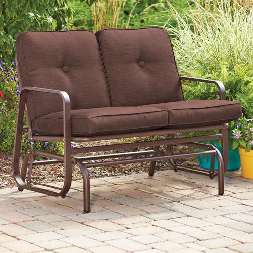 Mainstays Lawson Ridge Outdoor Glider Bench, Brown, Seats 2