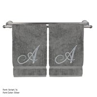 Monogrammed Hand Towel, Personalized Gift, 16 x 30 Inches - Set of 2 - Silver Embroidered Towel - Extra Absorbent 100% Turkish Cotton- Soft Terry Finish - For Bathroom, Kitchen and Spa- Script A Gray