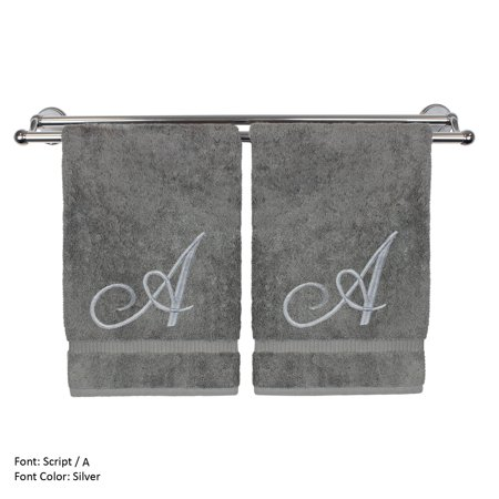 Monogrammed Hand Towel, Personalized Gift, 16 x 30 Inches - Set of 2 - Silver Embroidered Towel - Extra Absorbent 100% Turkish Cotton- Soft Terry Finish - For Bathroom, Kitchen and Spa- Script A