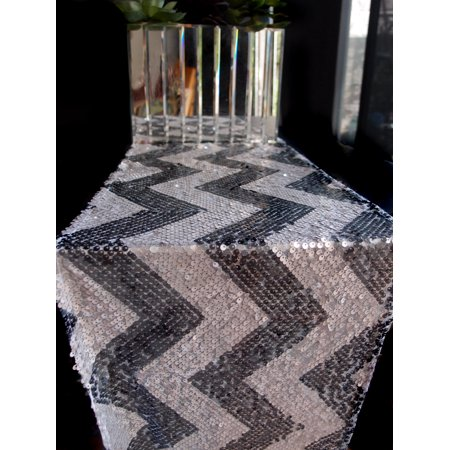Quasimoon Chevron Sequin Table Runner - Silver & Grey (12 x 108) by - Silver Sequin Table Runner
