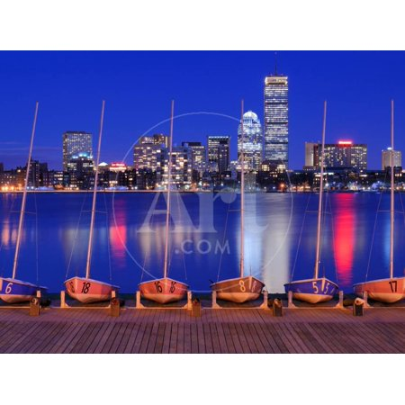 Docked Boats against the Cityscape of Back Bay Boston, Massachusetts, USA from across the Charles R Print Wall Art By SeanPavonePhoto