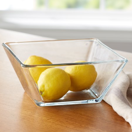 Mainstays 9-Inch Square Clear Glass Side  Salad Bowl (Glass Large Salad Bowl)