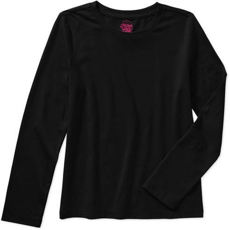 b712be3c9eed Faded Glory - Girls' Long Sleeve Crew Neck Tee - Walmart.com