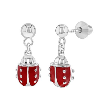 925 Sterling Silver Red Enamel Ladybug Screw Back Dangle Earrings Girls Teens