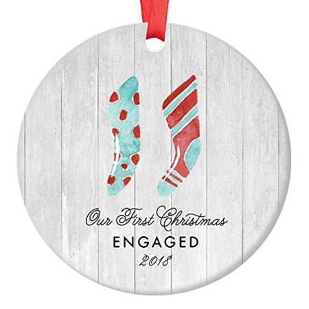 Engaged Christmas Ornament 2018, Farmhouse Woodsy Our 1st Christmas Engagement Couple Bride Groom Xmas Present for Newlyweds Ceramic Porcelain Keepsake 3