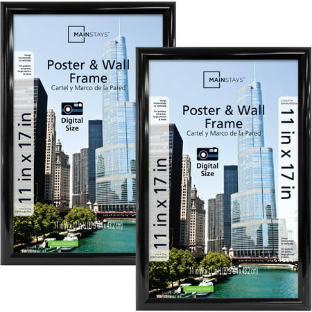 "Mainstays 11"" x 17"" Trendsetter Poster Frame Set, Two Pieces, Black Finish"