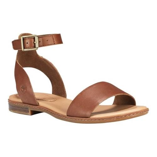 Timberland Cherrybrook Ankle Strap Sandal(Women's) -Black PU-Coated Full Grain Leather