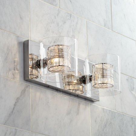 Possini Euro Design Wred Wire 14 Wide Chrome Bathroom Light