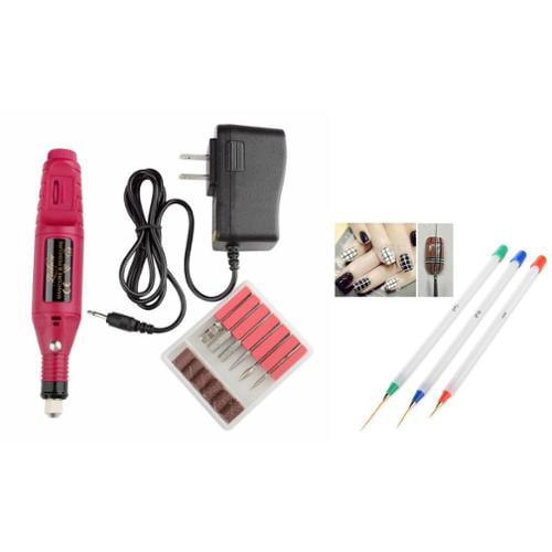 Zodaca Pen Shape Electric Nail Drill Art Salon File Pedicure Tool+3PCS Nail Art Pen Drawing UV Gel Liner Polish Brush