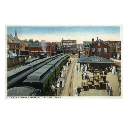Aurora, Illinois - Chicago, Burlington, and Quincy Railroad Depot Print Wall Art By Lantern - Home Depot Quincy Ma