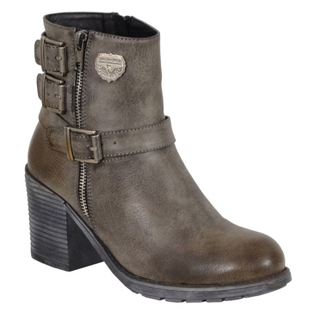 - Milwaukee Leather Womens Stone Grey Triple Buckle Side Zipper Boots with Platfo