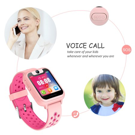 Kids Smartwatch with GPS Tracker Phone Remote Monitor Camera Touch Screen One Game Anti Lost Alarm Clock App Control by Parents for Children Boys Girls Christmas Holiday Birthday (Best Punch Clock App)