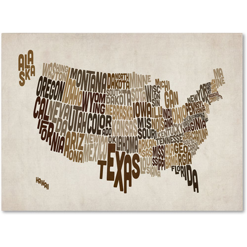 Trademark Art 'USA States Text Map 2' Canvas Art by Michael Tompsett