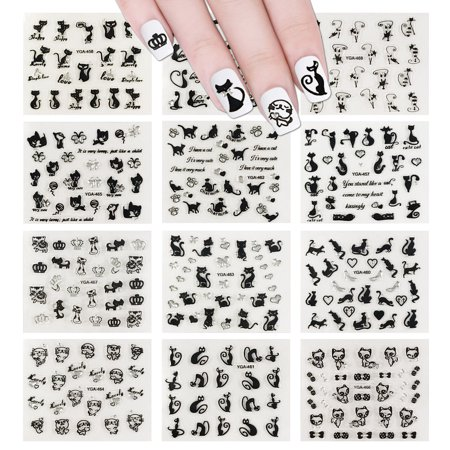 Allydrew 12 Sheets Black Cats Nail Stickers Set Nail Art Stickers