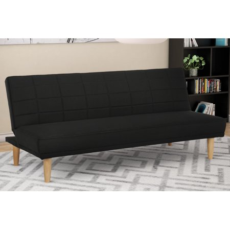 Premium Estera Sofa Futon, Rich Black Linen Upholstery With Premium Natural Wooden Legs, Modern Space Saving Solution Quickly Converts To a Bed, 600 lb Weight Limit