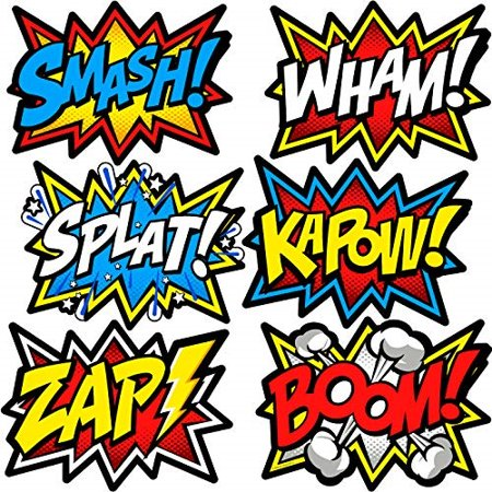 Large Superhero Word Cutouts Party Supplies Wall Decoration Signs (Size 12