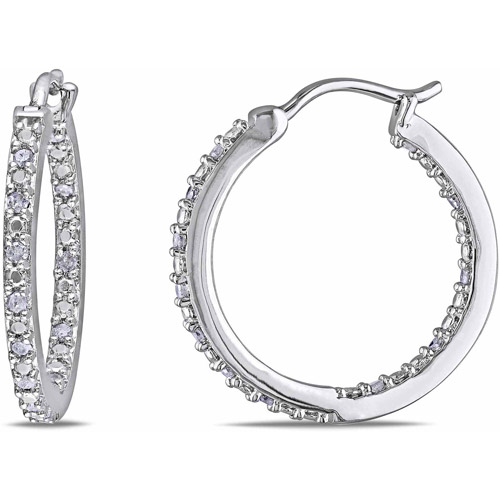 Miabella 1/4 Carat T.W. Diamond Sterling Silver Hoop Earrings