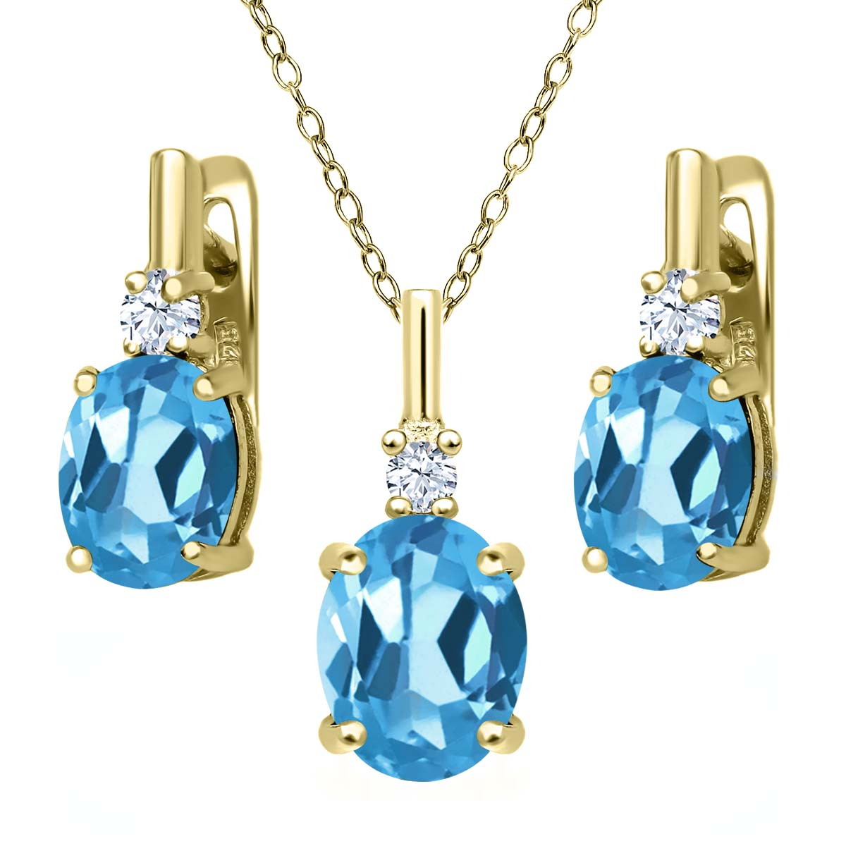 6.65 Ct Swiss Blue Topaz White Created Sapphire 18K Yellow Gold Plated Silver Pendant Earrings Set by