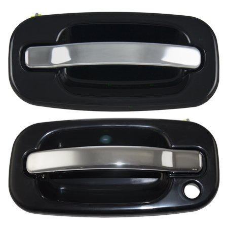 Pair Set Front Outside Door Handles Black Bezel w/ Chrome Levers Replacement for Cadillac GMC Chevy Pickup Truck SUV 15745149