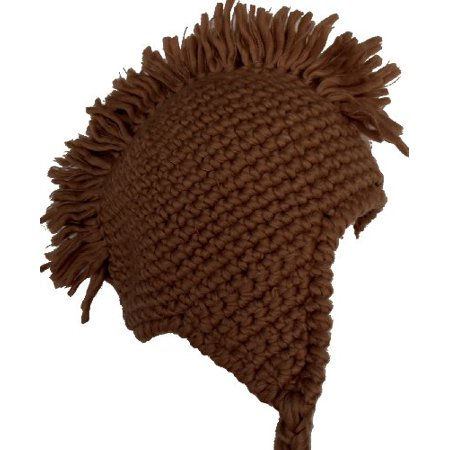 Handmade Mohawk Winter Knit Trooper Trapper Hat XL (Chocolate