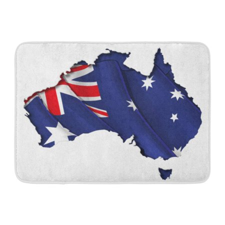 Flag Photo Cut Out (GODPOK Blue Australian Map Cut Out Highly Detailed on The Edge's Shading with Waving Flags Underneath Settle Rug Doormat Bath Mat 23.6x15.7)